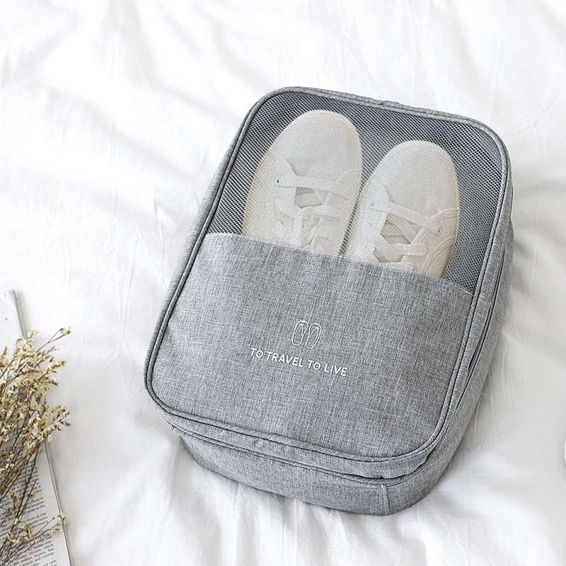 New Oxford Zippered Multi-Layer Portable Washable Travel Shoe Bag